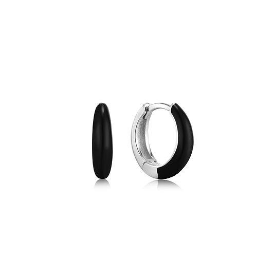 Raven Black Enamel Silver Sleek Huggie Hoop Earrings