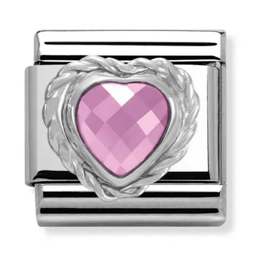 Nomination Silver Pink CZ Heart