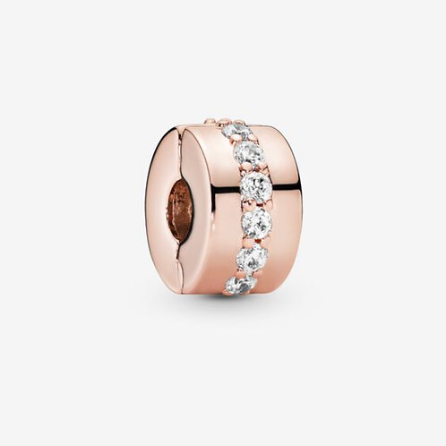 Rose Sparkling Row Spacer Clip Charm