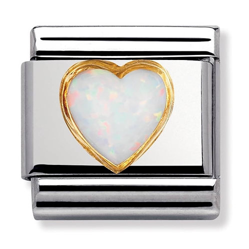Nomination Gold White Heart Opal