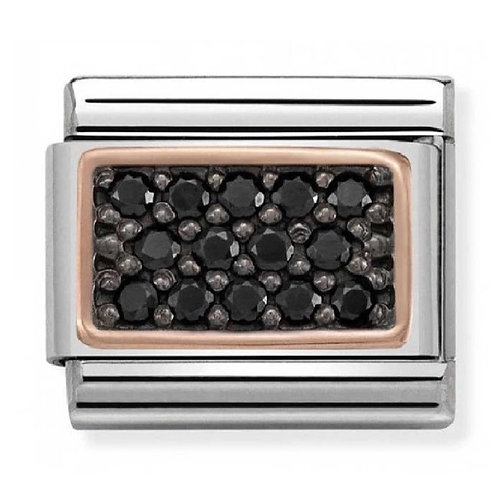 Nomination Rose Gold and Black CZ Rectangle