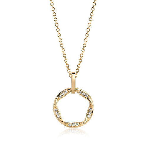 Cubic Zirconia Gold-Plated Halo Necklace