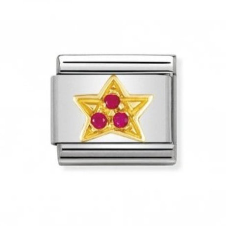 Nomination Gold Red CZ Star