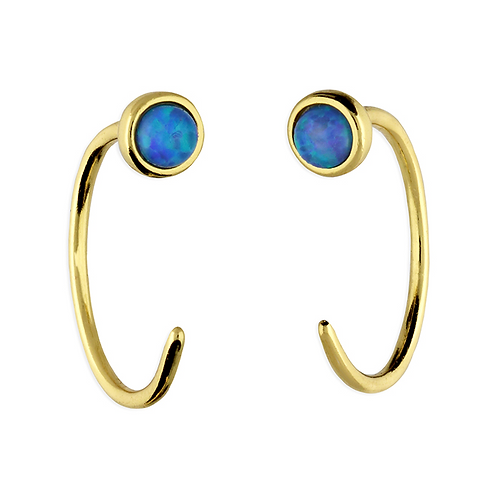 Sterling Silver Yellow Gold Plated 12mm Blue Opal Pull Through Hoop Earrings