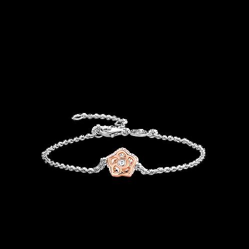 Ti Sento Rose Gold-Plated Flower Bracelet