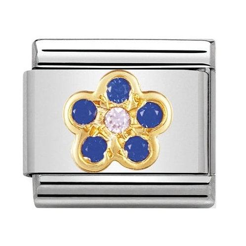 Nomination Gold Blue & Pink Flower