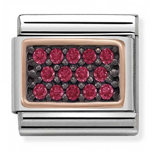 Nomination Rose Gold and Red CZ Rectangle