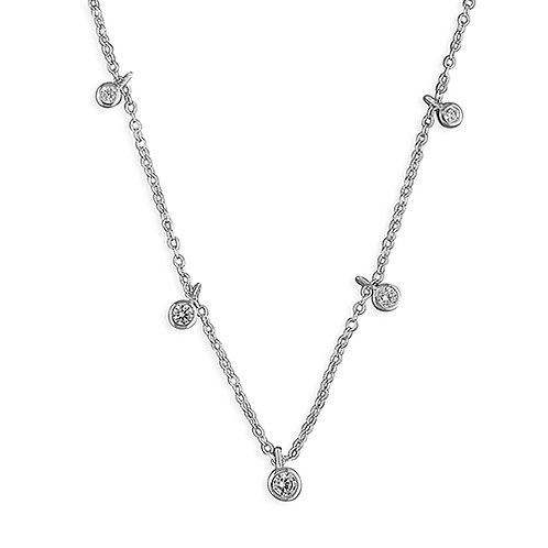 Sterling Silver CZ Drops Necklace