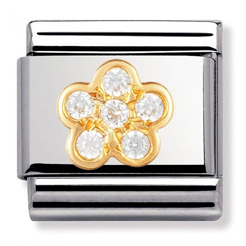 Nomination Gold White Clear Flower