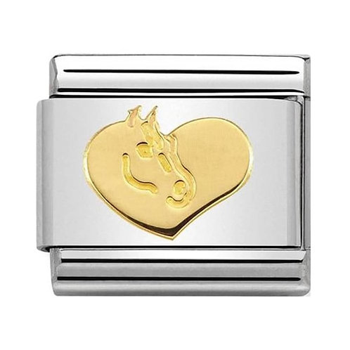 Nomination Gold Heart with Horse