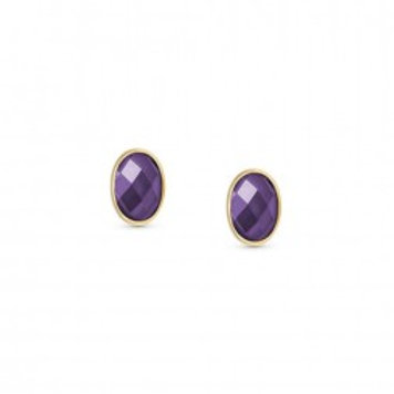 Nomination Silver & Gold Plated Purple Cubic Zirconia Faceted Oval Studs