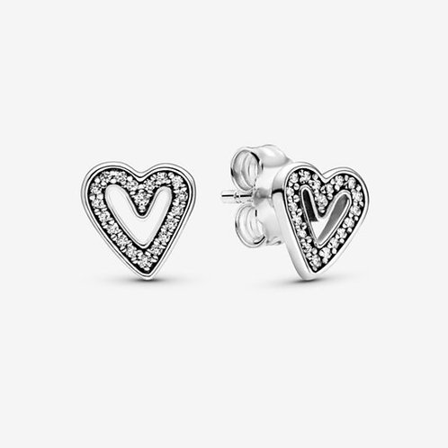 Sparkling Freehand Heart Stud Earrings