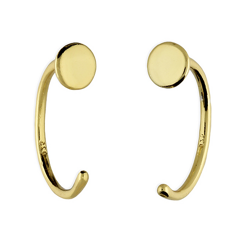 Sterling Silver Yellow Gold Plated 11mm Flat Disc Pull Through Hoop Earrings
