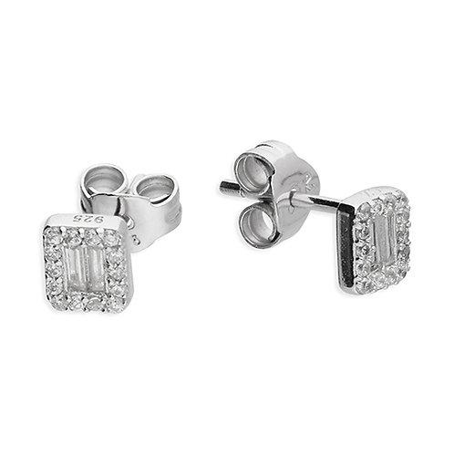 Sterling Silver Baguette Cut CZ Halo Stud Earring