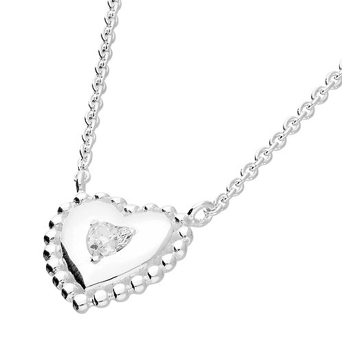 Sterling Silver CZ Puffed Heart Necklace