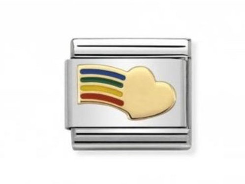 Nomination Gold Rainbow Heart