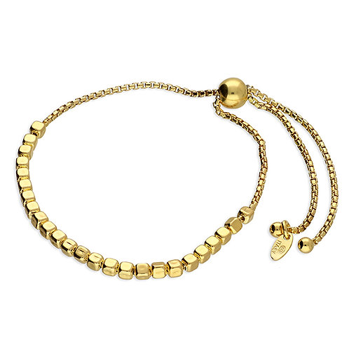 Sterling Silver Yellow Gold-Plated Irregular Cube Bead Slider Bracelet
