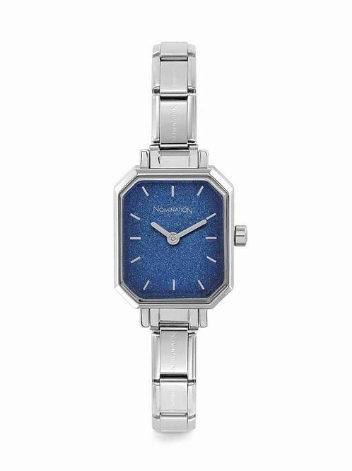Nomination Paris Classic Silver Rectangular & Blue Glitter Dial Watch