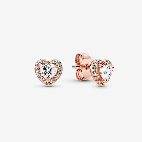 Rose Sparkling Elevated Heart Stud Earrings