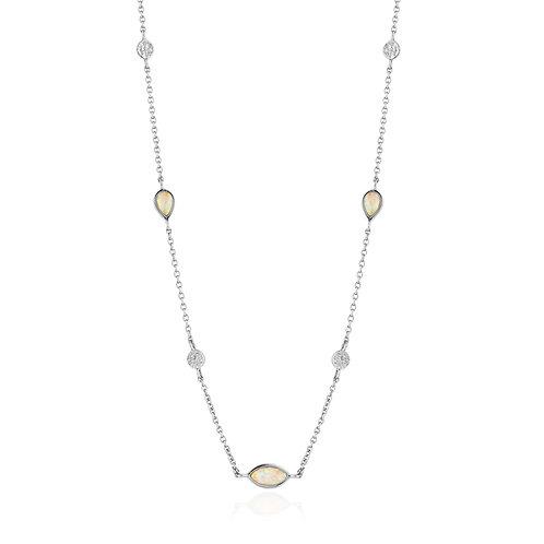 Opal Colour Silver Necklace