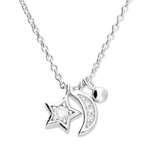 Sterling Silver Celestial Moon & Star CZ Necklace