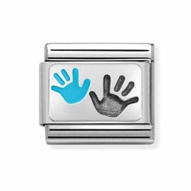 Nomination Silver Blue Parent & Child Hands