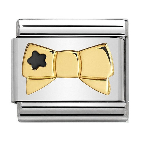 Gold and Enamel Bow Tie with Black Star