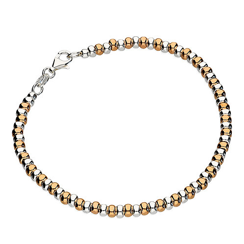 Sterling Silver Rose Gold-Plated Facetted Beads 19cm Bracelet