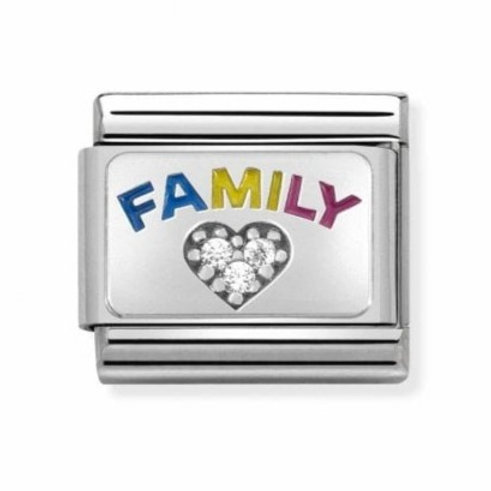 Nomination Silver Rainbow Family with CZ Heart