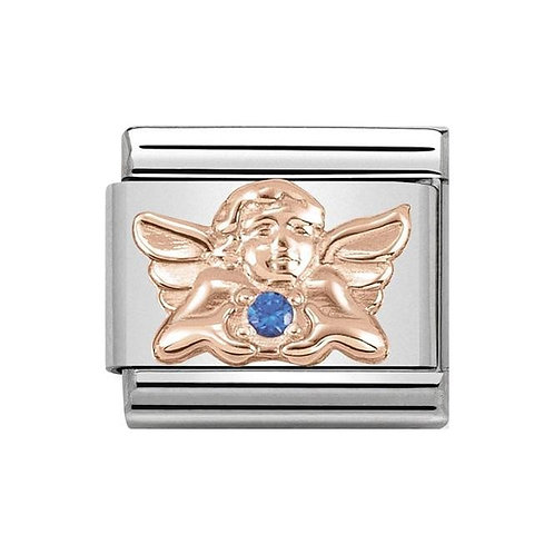 Nomination Rose Gold & Blue CZ Angel of Health and Wellbeing