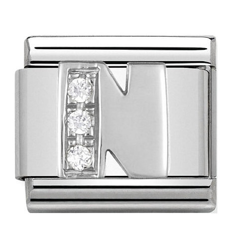 Nomination Silver CZ Letters N-Z