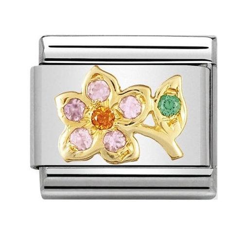 Nomination Gold Lilac & Orange Flower With Stem