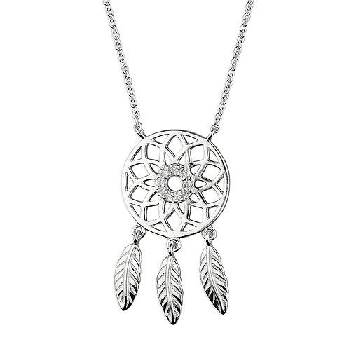 Sterling Silver CZ Dreamcatcher Necklace