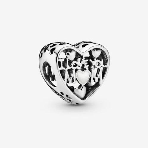 I Love You Mum Heart Charm