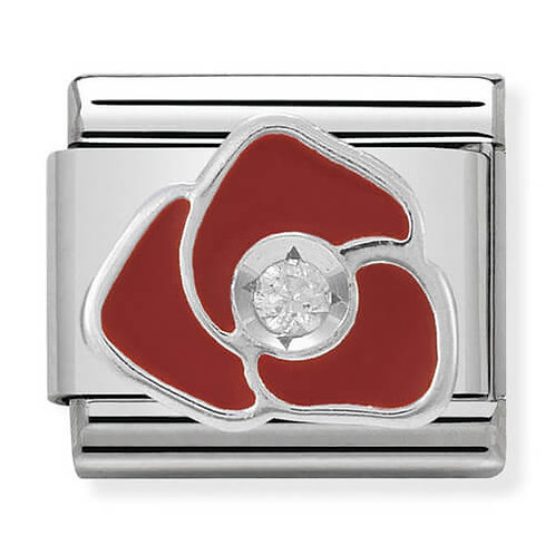 Nomination Silver Red Enamel Rose with CZ Centre