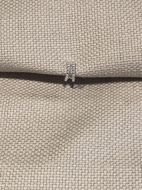 Sterling Silver Double Row Beaded Single Ear Cuff