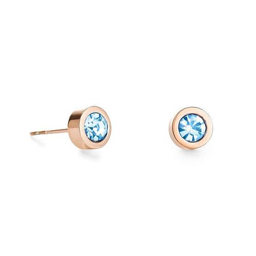 Coeur de Lion Rose & Aqua Blue Stud Earring