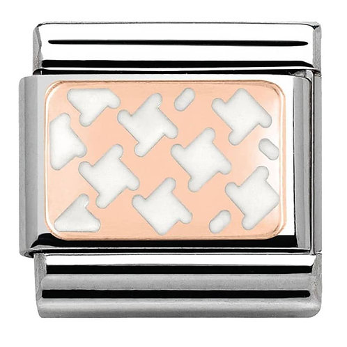 Nomination Rose Gold White Houndstooth
