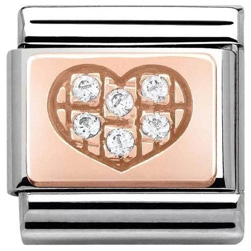 Nomination Rose Gold White CZ Heart