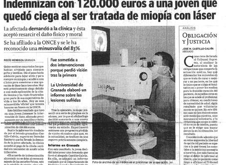 Indemnizada con 120.000 euros al quedar ciega en una operación de miopía con láser