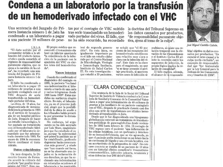 Condena a un laboratorio a pagar 19 millones de pesetas por el contagio de VHC tras serle transfundi