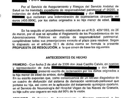 416.600 € para indemnizar una negligencia médica que dejó ciega a una niña