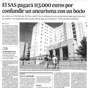 EL SAS indemniza con 113.729 euros a la familia de un paciente que murió tras una operación de bocio