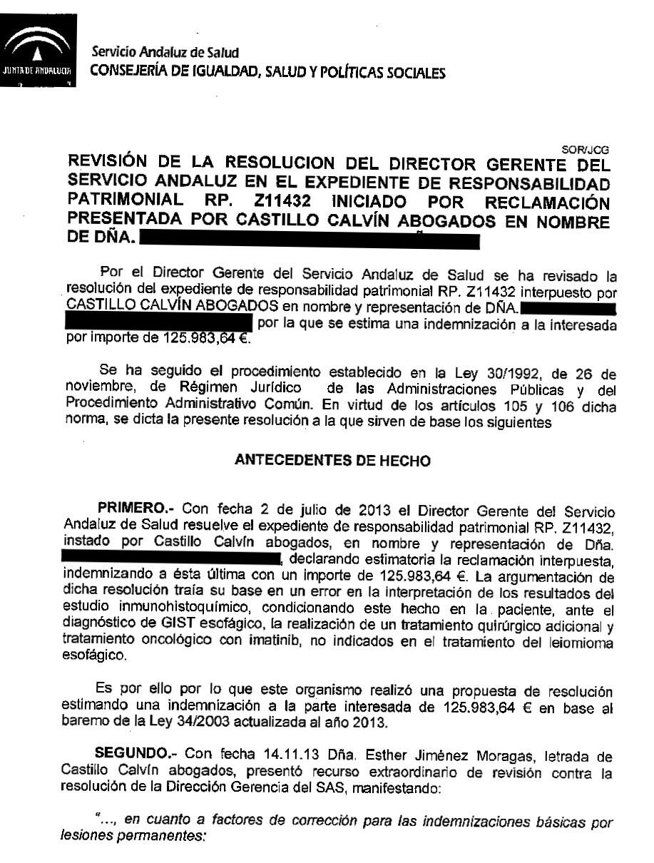 error diagnóstico de cáncer. Casos ganados de Castillo-Calvín
