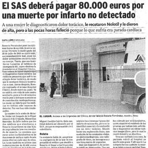 El SAS deberá pagar 80.000 euros por una muerte por infarto no detectado