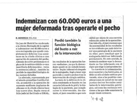 Indemnizan con 60.000 euros a una mujer deformada tras operarle el pecho