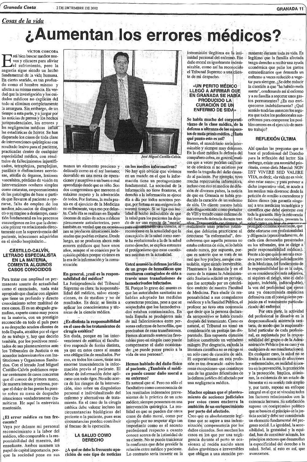abogados casos de negligencias médicas. Castillo Calvin Abogados Madrid Granada