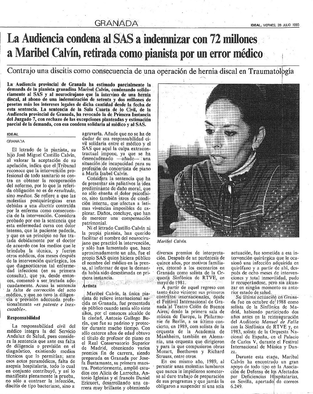 Castillo Calvín Abogados negligencias médicas. Maribel Calvín pianista