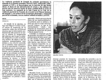 Condena al SAS a indemnizar con 72 millones a Maribel Calvín, retirada como pianista por un error mé