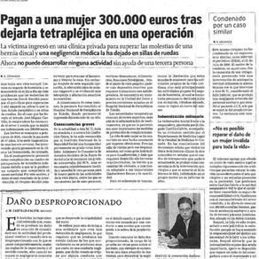 Indemnizada con 300.000 euros tras quedar inválida en una operación de hernia discal
